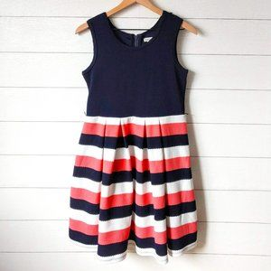 Knitworks Navy & Pink Striped Fit & Flare Dress 16